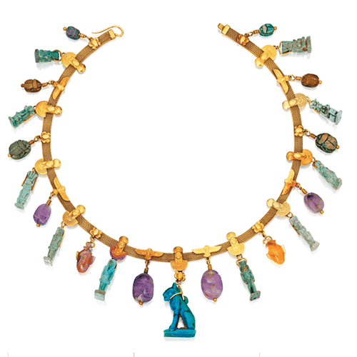 Egyptian Revival Faience, Steatite and Colored Stone Necklace, Jules Wiese, c.1870. Photo Courtesy of Sotheby's.