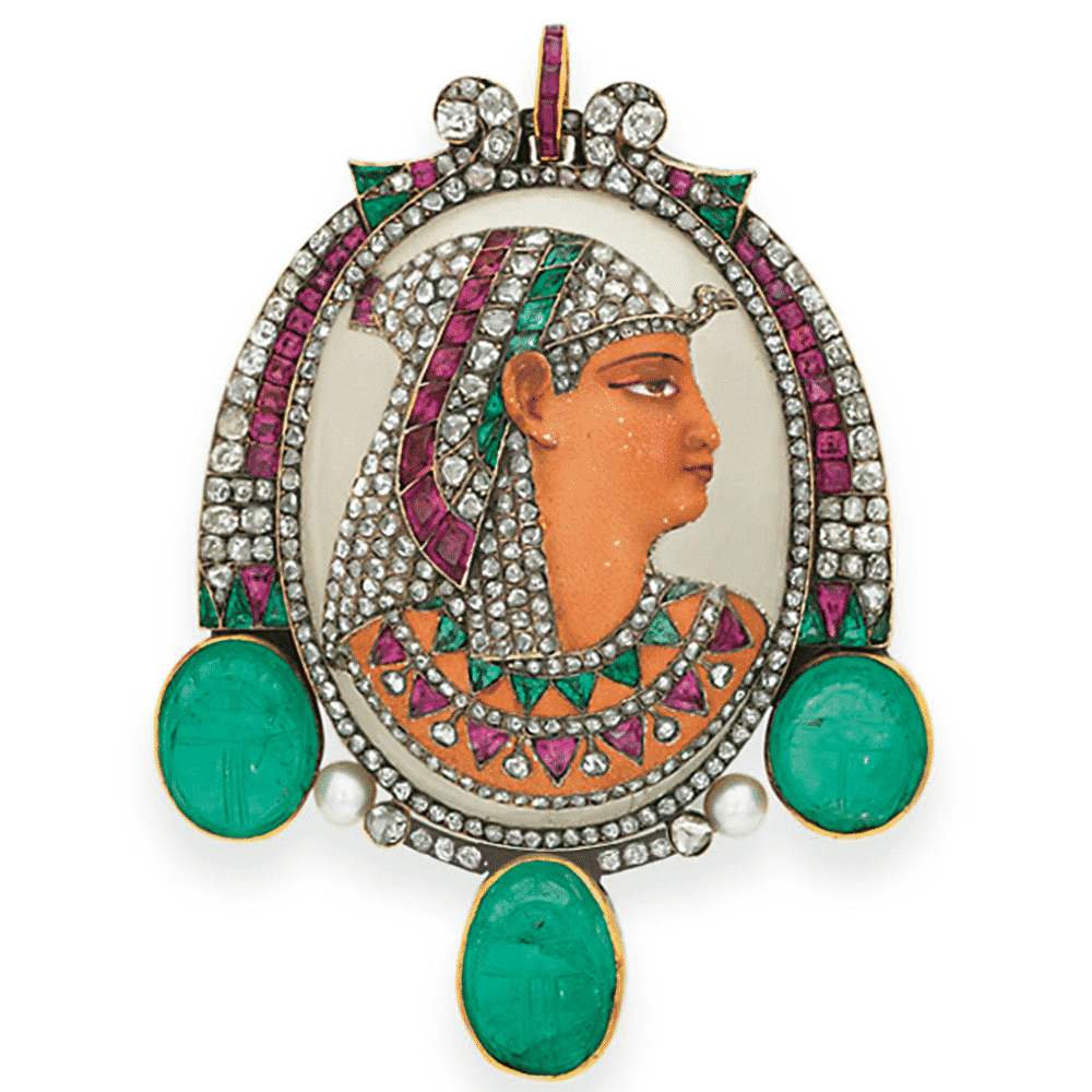 Egyptian Revival Enamel and Gem-Set Brooch Gustave Baugrand, c.1897. Photo Courtesy of Christie's.