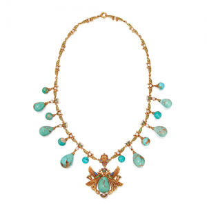 Egyptian Revival Turquoise and Enamel Necklace, c.1900. Photo Courtesy of Sotheby's.