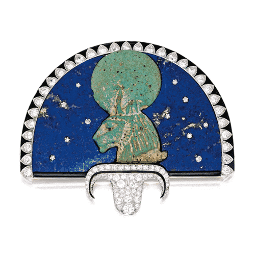 Egyptian Revival Faience (Goddess Sekhmet) Fan Brooch, Cartier, London, c.1923. Photo Courtesy of Sotheby's.