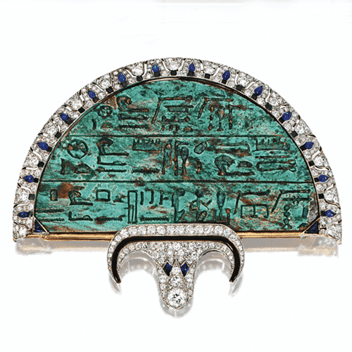 Egyptian Revival Egyptian Steatite Plaque, Gem-Set Fan Brooch, Cartier, London, c.1923. Photo Courtesy of Sotheby's.