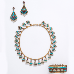 Egyptian Revival Demi-Parure of Necklace, Earrings & Bracelet, Guiliano, c. 1865.
