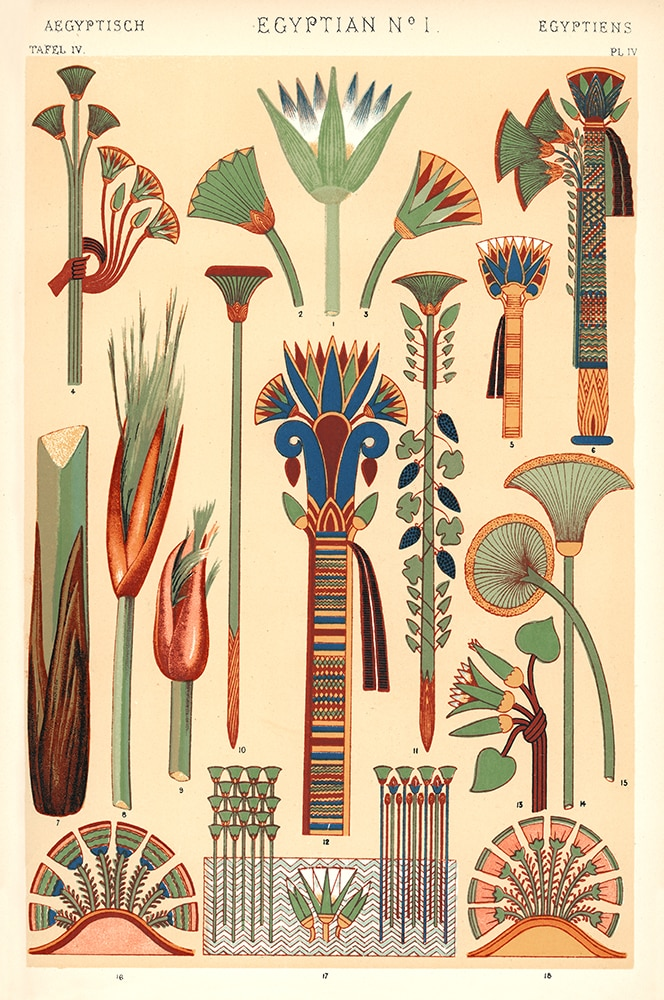 Egyptian Motifs from the Grammar of Ornament by Owen Jones.