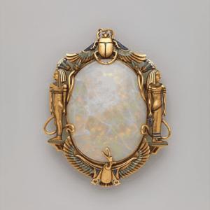 Egyptian Revival Opal & Enamel Brooch, Marcus & Co., c.1900.