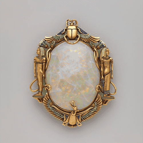 Egyptian Revival Opal & Enamel Brooch, Marcus & Co., c.1900.