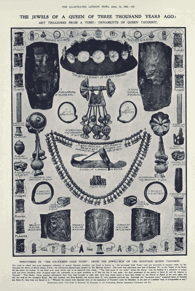 The Jewels of a Queen of Three Thousand Years Ago from the Illustrated London News, April 10, 1909.