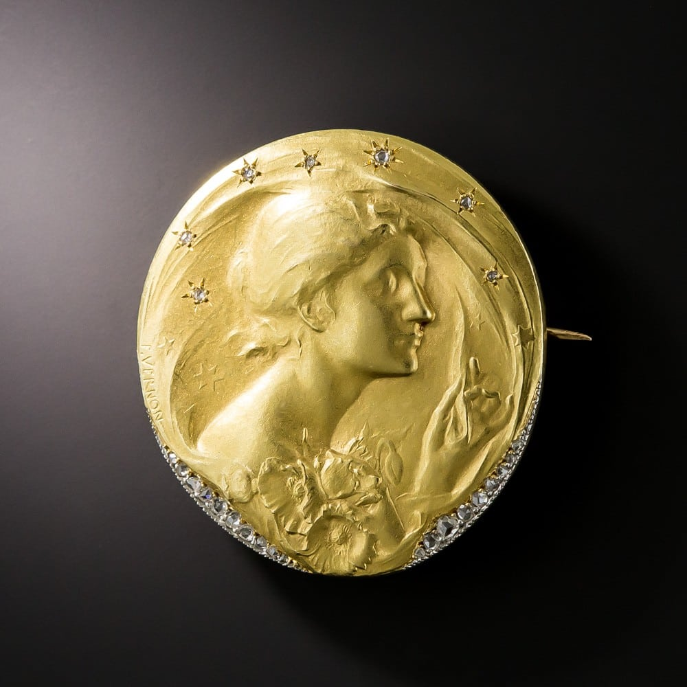 The Night, Medal Brooch by Frederic de Vernon, c.1900.