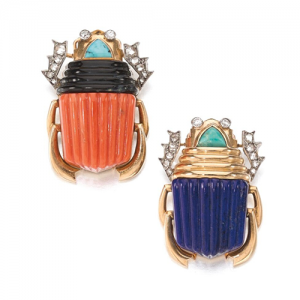 Egyptian Revival Scarab Brooches, Cartier, c.1950s. Photo Courtesy of Sotheby's.