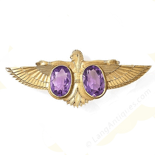 Egyptian Revival Amethyst Brooch, c.1900.