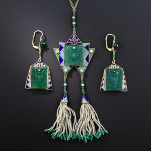 Egyptian Revival Enamel and Gem-Set Demi Parure, c.1925.