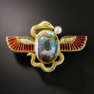 Egyptian Revival Opal and Enamel Brooch, Shreve & Co., c.1900.