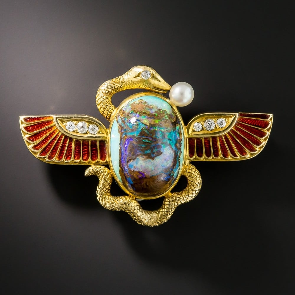 Egyptian Revival Opal and Enamel Brooch, Shreve & Co., c.1900.