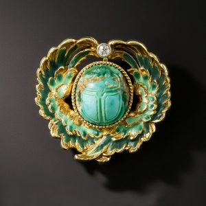 Egyptian Revival, Art Nouveau Turquoise and Enamel Scarab Brooch, c.1900.