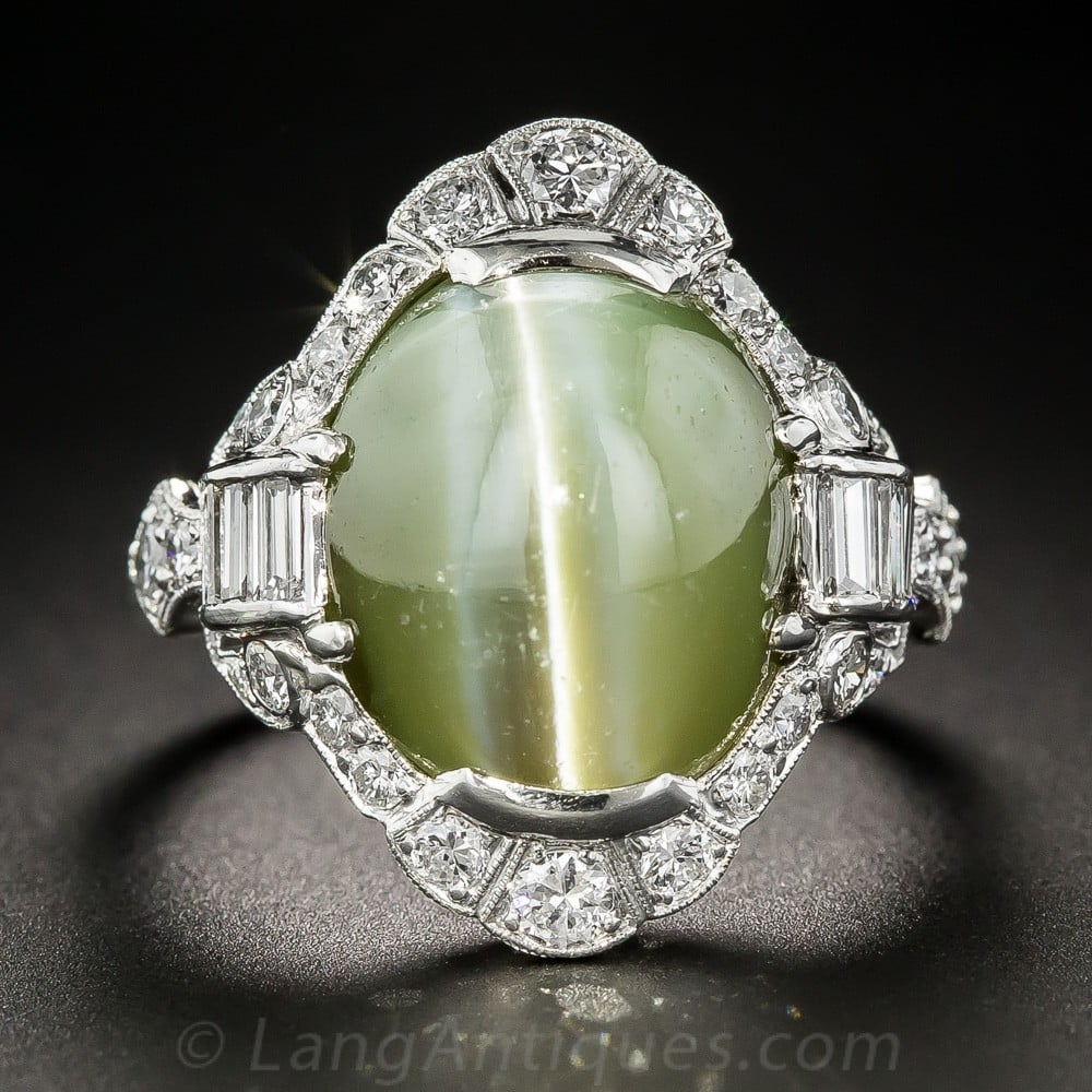 Cat's Eye Chrysoberyl, Diamond, Platinum Ring Exhibiting Chatoyancy.
