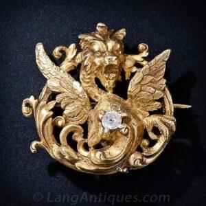 Antique Diamond and Gold Gargoyle Brooch.
