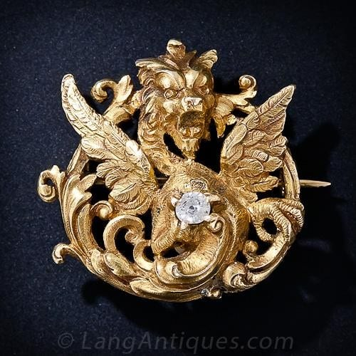 Antique Diamond and Gold Gargoyle Brooch.