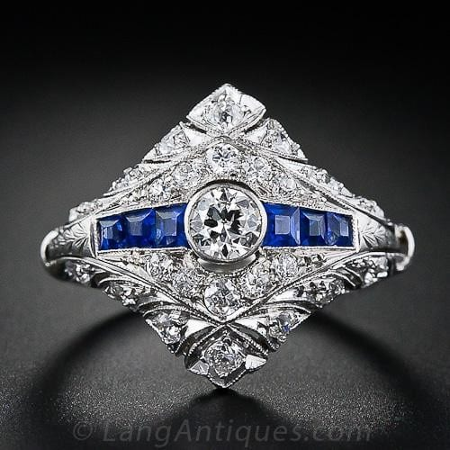 Art Deco Diamond and Sapphire Engagement Ring with Keeper Surround.