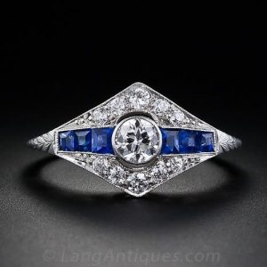 Art Deco Diamond and Sapphire Engagement Ring.