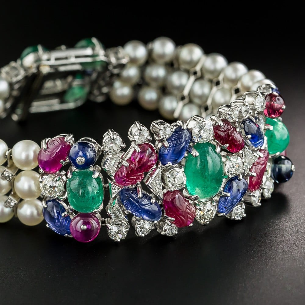 Art Deco Tutti Frutti Ruby, Emerald, Sapphire, Pearl, and Diamond Bracelet.