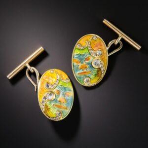 Japonesque Art Nouveau Polychrome Enamel Cufflinks.