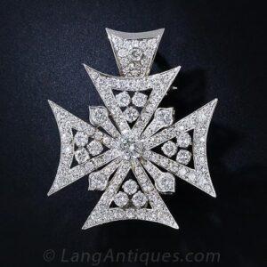 Maltese Cross Pendant/Brooch with Diamonds.
