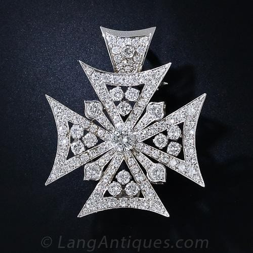 Maltese Cross Pendant/Brooch with Diamonds.