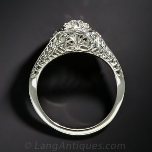 Lace Gallery in 18K White Gold on a Diamond Ring.