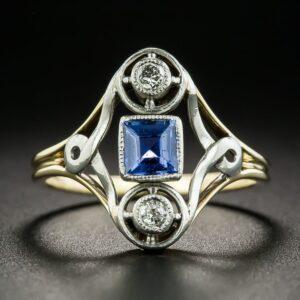 Montana Sapphire and Diamond Ring.