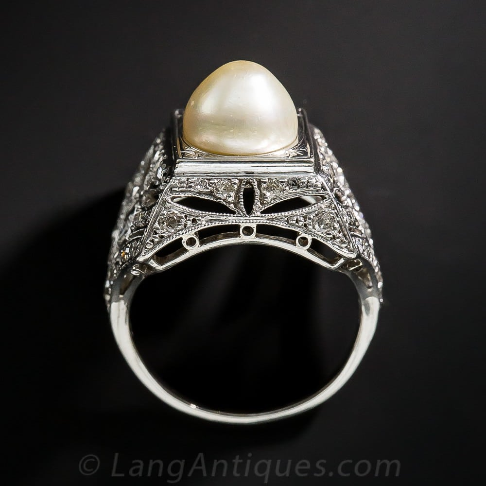 Early Art Deco Pearl and Diamond Ring with Elaborate Gallery.