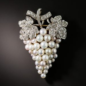 Natural Pearl Grape Cluster Brooch with Rose, Silver, and Lavender Overtones.