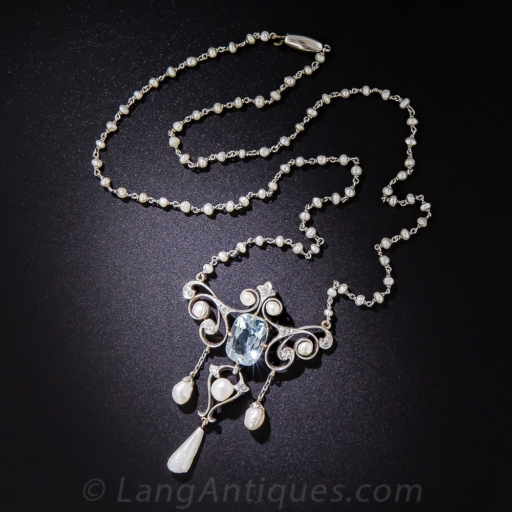 Edwardian Aquamarine and Pearl Lavallière.