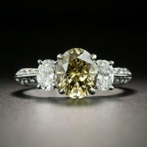 Oval Diamond Three Stone Ring.