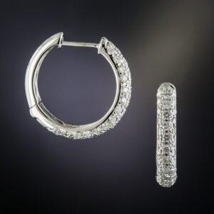 Hoop Diamond Earrings.