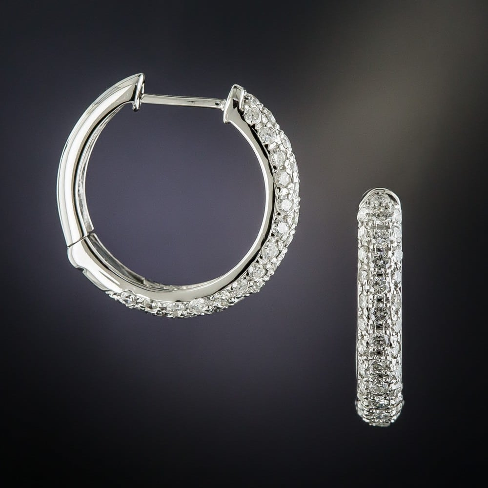 Hoop Diamond Earrings.