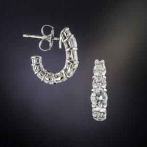 Half Hoop Diamond, Platinum Earrings.