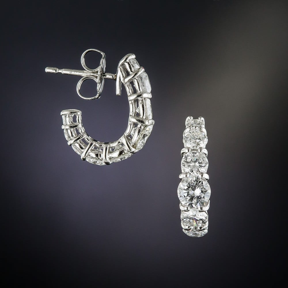 Half Hoop Diamond, Platinum Earrings.
