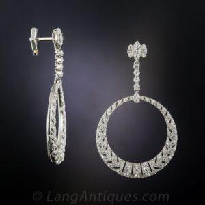Hoop Dangle French Belle Epoque Diamond Earrings.