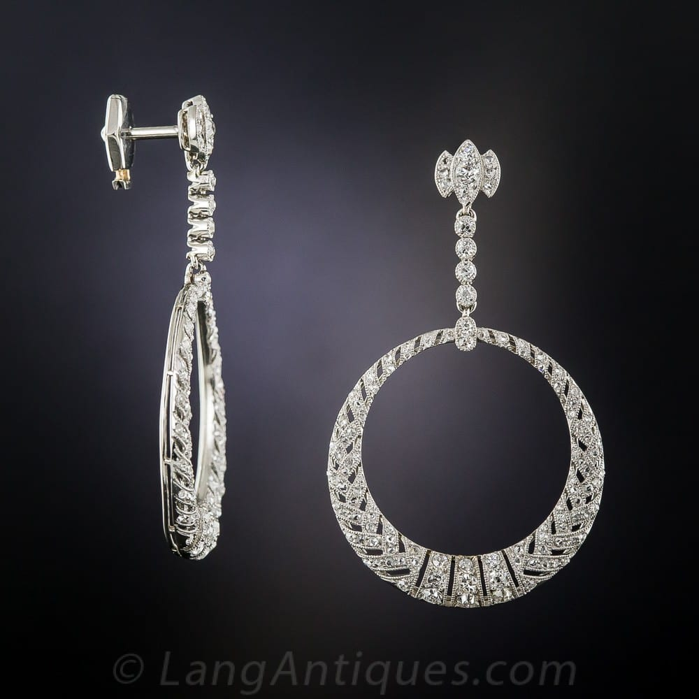 Hoop Dangle French Belle Epoque Diamond Earrings.