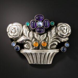 Georg Jensen Multi-Gem Sterling Silver Flower Basket Brooch.