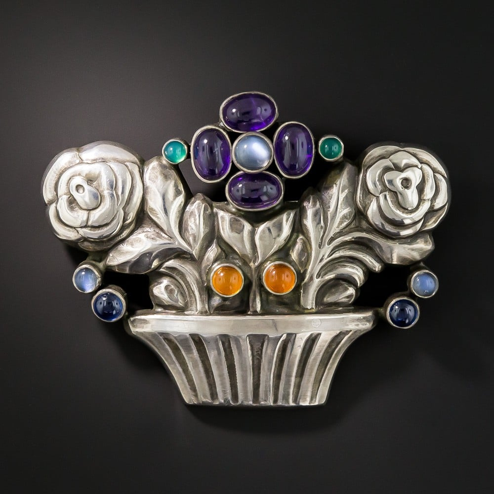 Georg Jensen Multi-Gem Sterling Silver Flower Basket Brooch.