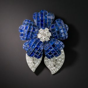 Invisibly-Set Sapphire and Diamond Brooch, Front.