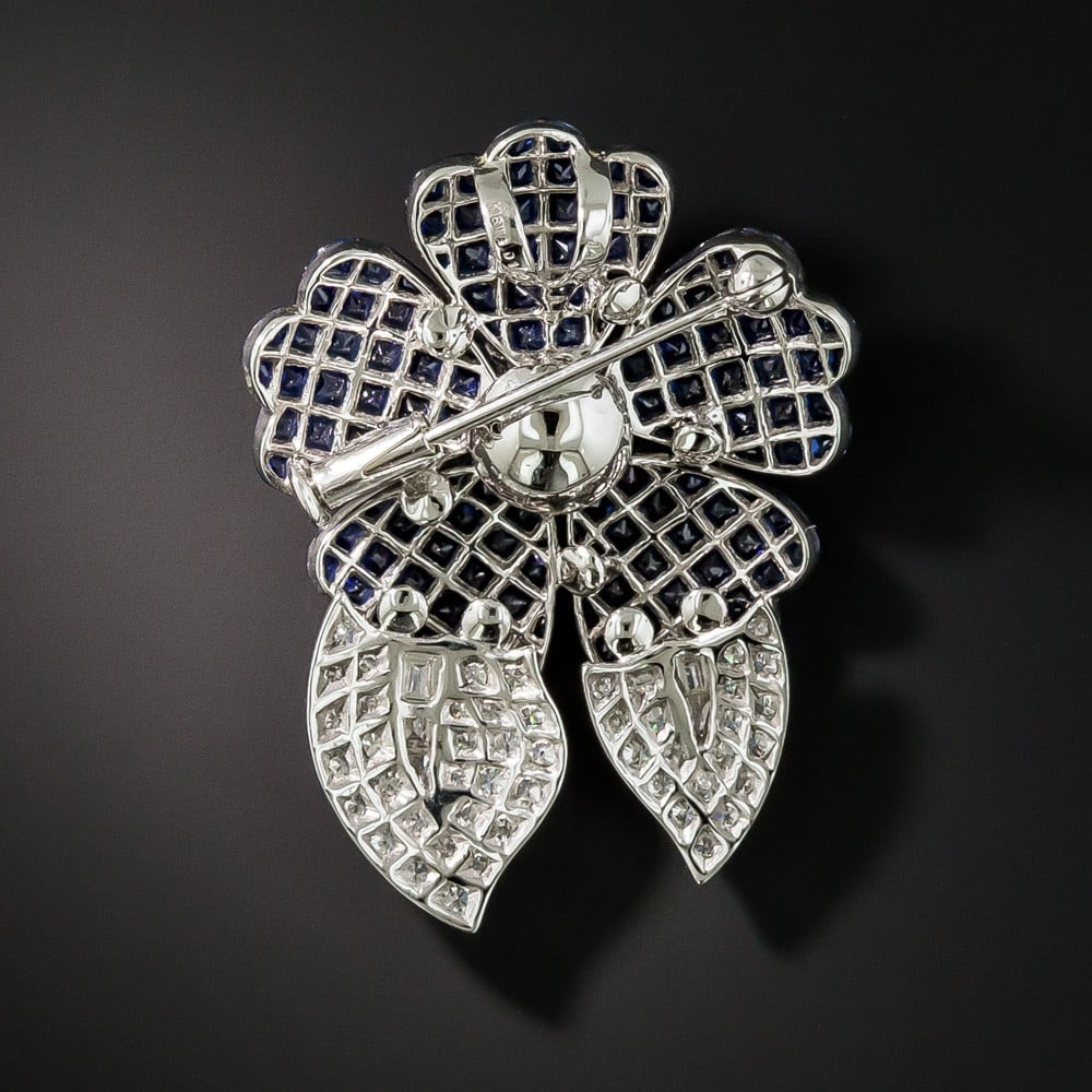 Invisibly-Set Sapphire and Diamond Brooch, Reverse.