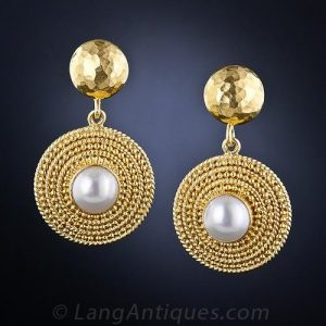 Lalaounis Gold and Pearl Earrings.