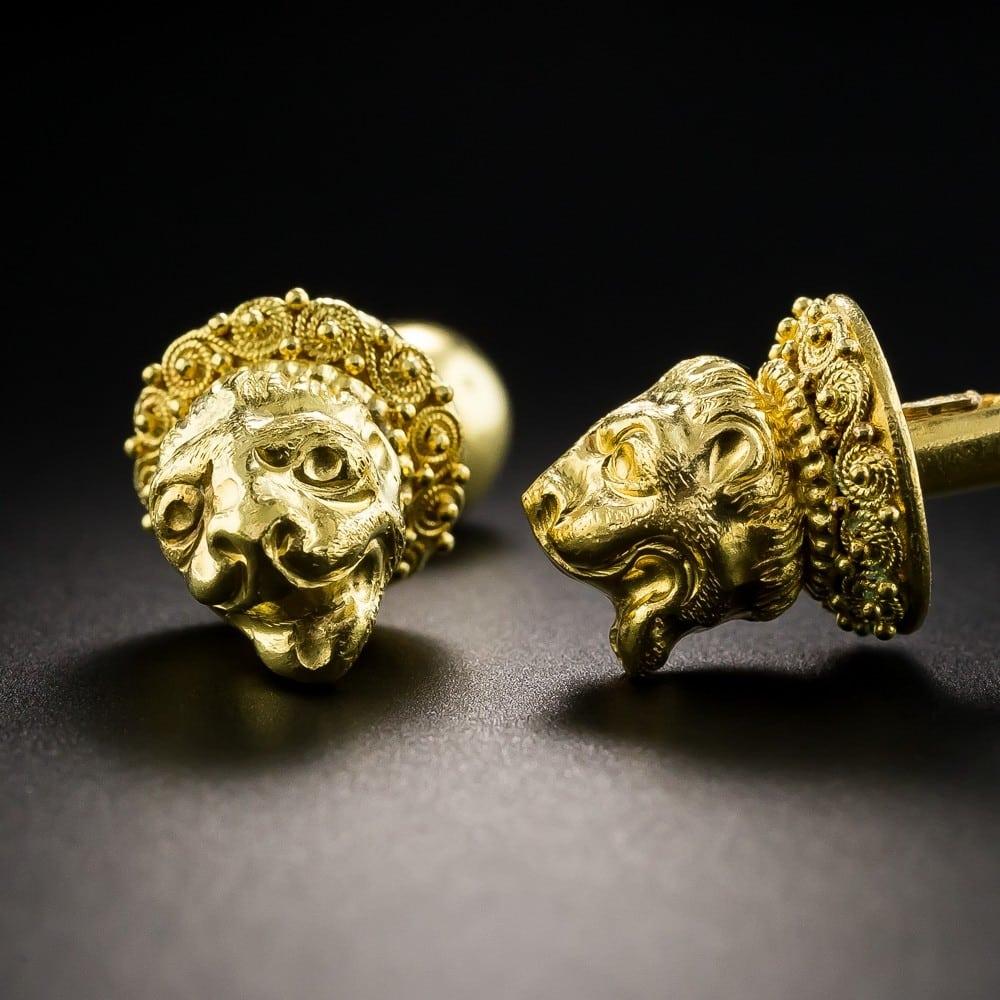 Lalaounis Lion's Head Cufflinks.