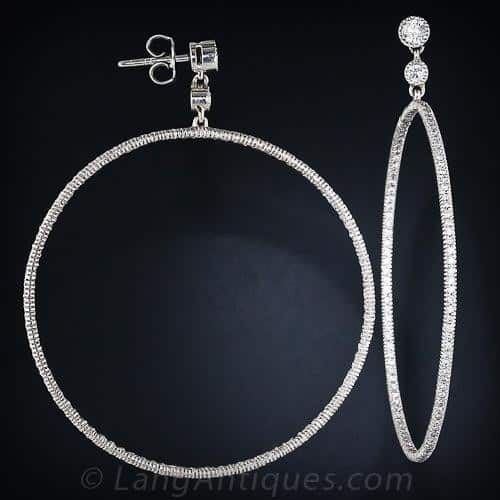 Hoop Earrings with Diamonds.