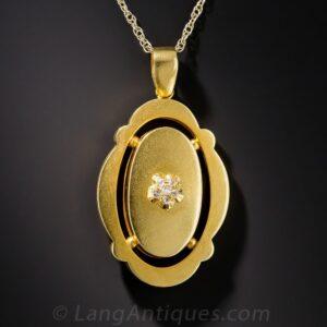 Matte Finish Victorian Diamond Pendant.