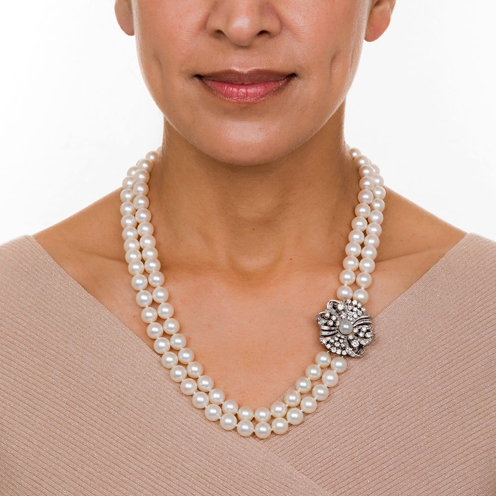 Matinee Length Mid-Century Double Strand Pearl Necklace with Diamond Clasp.