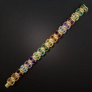 Multi-Color, Multi-Gemstone Bracelet. Garnets, Citrines, Tourmalines, Aquamarines, and Amethysts.