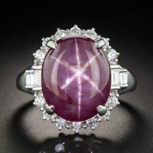 Star Ruby, Diamond, Platinum Ring Exhibiting Asterism.