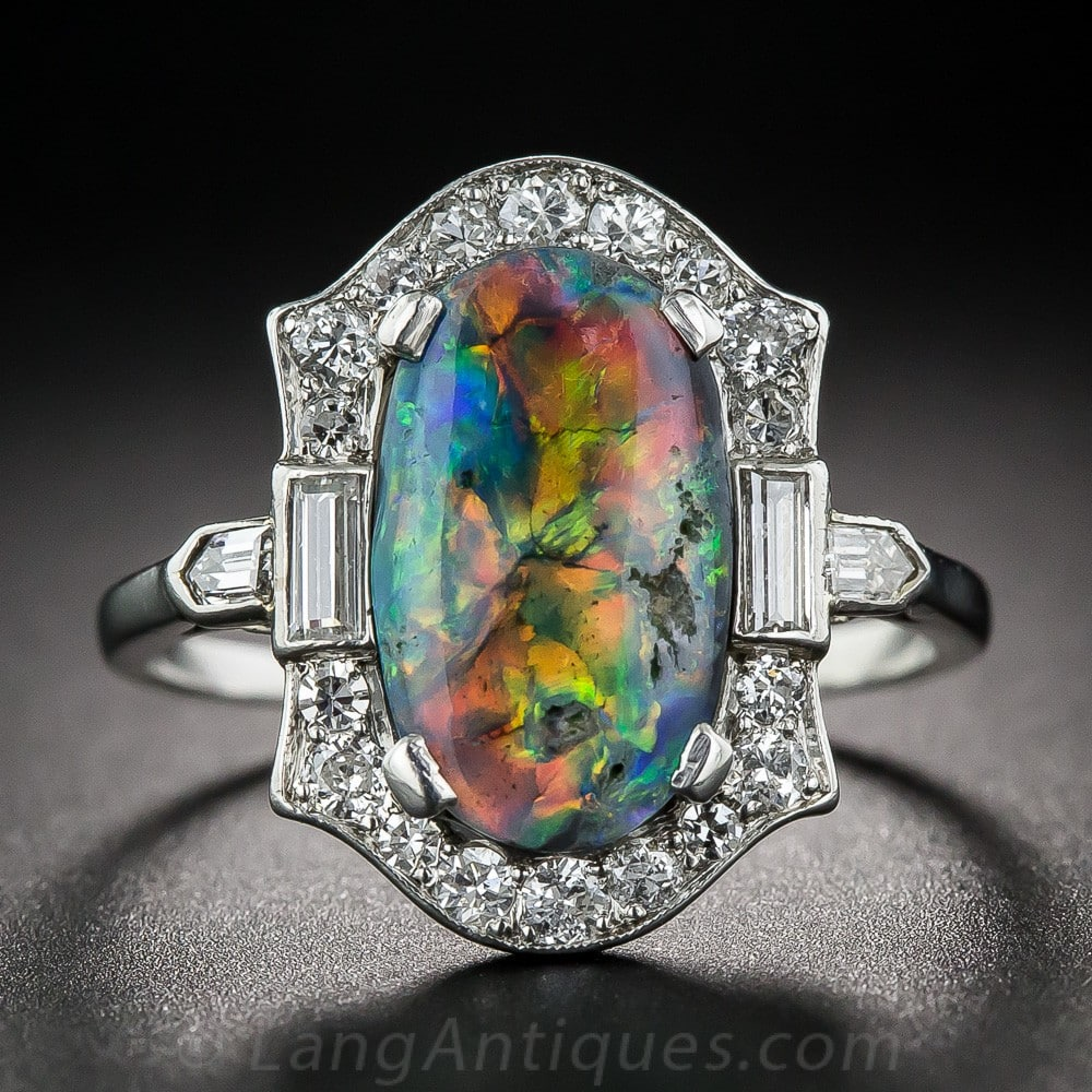 Black Opal, Diamond, Platinum Ring Exhibiting Play-of-Color.